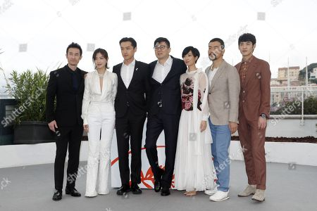Chinese actor Qi Dao, Chinese actress Wan Qian, Chinese actor Hu Ge, Chinese director Diao Yinan, Taiwanese actress Gwei Lun Mei, Chinese actor Liao Fan and Chinese actor Zhang Yicong pose during the photocall for 'Nan Fang Che Zhan De Ju Hui' (The Wild Goose Lake) at the 72nd annual Cannes Film Festival, in Cannes, France, 19 May 2019. The movie is presented in the Official Competition of the festival which runs from 14 to 25 May.
