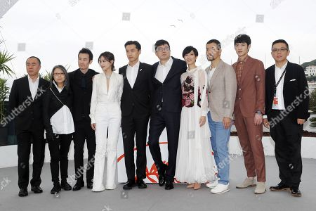Photography director Dong Jinsong, producer Shen Yang, Chinese actor Qi Dao, Chinese actress Wan Qian, Chinese actor Hu Ge, Chinese director Diao Yinan, Taiwanese actress Gwei Lun Mei, Chinese actor Liao Fan, Chinese actor Zhang Yicong and producer Li Li pose during the photocall for 'Nan Fang Che Zhan De Ju Hui' (The Wild Goose Lake) at the 72nd annual Cannes Film Festival, in Cannes, France, 19 May 2019. The movie is presented in the Official Competition of the festival which runs from 14 to 25 May.