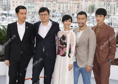 Hu Ge, Diao Yinan, Kwai Lun-mei, Liao Fan and. Actor Hu Ge, director Diao Yinan, actors Kwai Lun-mei, Liao Fan and Zhang Yicong pose for photographers at the photo call for the film 'The Wild Goose Lake' at the 72nd international film festival, Cannes, southern France
