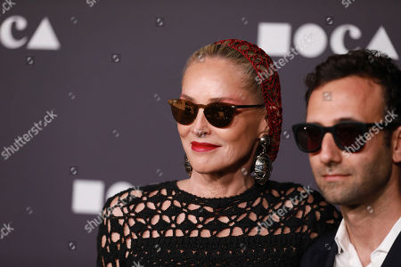 Sharon Stone, Alex Israel. Sharon Stone and Alex Israel attend the 2019 MOCA benefit at the Geffen Contemporary on in Los Angeles