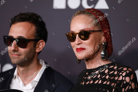 Alex Israel, Sharon Stone. Sharon Stone attends the 2019 MOCA benefit at the Geffen Contemporary on in Los Angeles