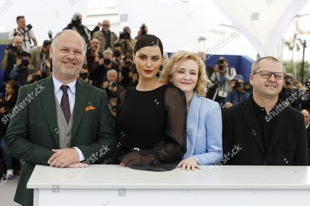 Romanian actor Vlad Ivanov, Romanian actress Catrinel Marlon, Romanian actress Rodica Lazar and Romanian director Corneliu Porumboiu pose during the photocall for 'La Gomera' (The Whistlers) at the 72nd annual Cannes Film Festival, in Cannes, France, 19 May 2019. The movie is presented in the Official Competition of the festival which runs from 14 to 25 May.