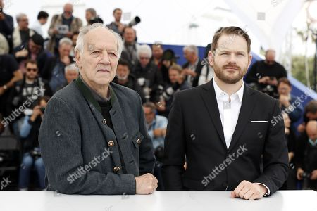 US producer Roc Morin (R) and German director Werner Herzog (L) pose during the photocall for 'Family Romance' at the 72nd annual Cannes Film Festival, in Cannes, France, 19 May 2019. The movie is presented in the section Special Screenings of the festival which runs from 14 to 25 May.
