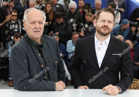 Werner Herzog, Roc Morin. Director Werner Herzog, from left, and producer Roc Morin pose for photographers at the photo call for the film 'Family Romance' at the 72nd international film festival, Cannes, southern France
