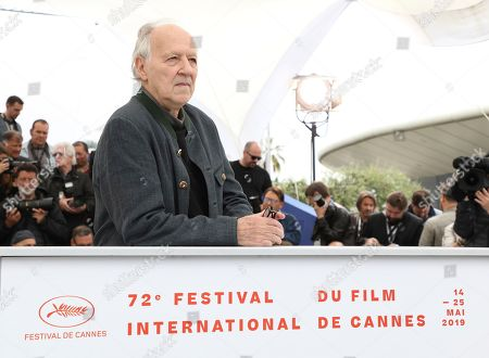 Stock Image of Werner Herzog poses for photographers at the photo call for the film 'Family Romance' at the 72nd international film festival, Cannes, southern France