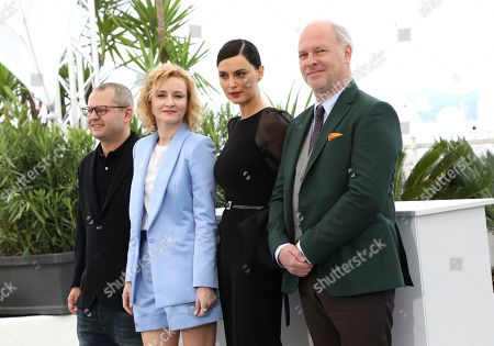 Corneliu Porumboiu, Rodica Lazar, Catrinel Marlon, Vlad Ivanov. Director Corneliu Porumboiu, from left, actors Rodica Lazar, Catrinel Marlon, and Vlad Ivanov pose for photographers at the photo call for the film 'The Whistlers' at the 72nd international film festival, Cannes, southern France