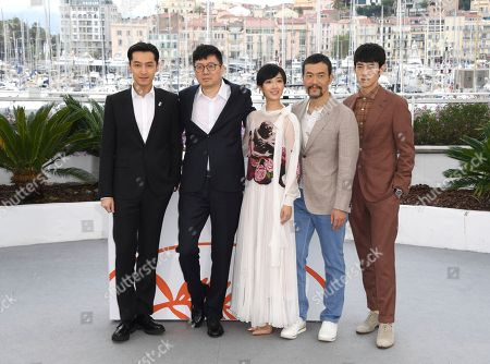 Hu Ge, Diao Yinan, Kwai Lun-mei, Liao Fan, Zhang Yicong. Actor Hu Ge, director Diao Yinan, actors Kwai Lun-mei, Liao Fan and Zhang Yicong pose for photographers at the photo call for the film 'The Wild Goose Lake' at the 72nd international film festival, Cannes, southern France