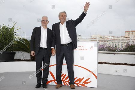 General Delegate of the Cannes Film Festival Thierry Fremaux (L) and French actor Alain Delon (R) pose during a photocall at the 72nd annual Cannes Film Festival, in Cannes, France, 19 May 2019. Delon will receive a Honorary Golden Palm award for his career during the festival which runs from 14 to 25 May.
