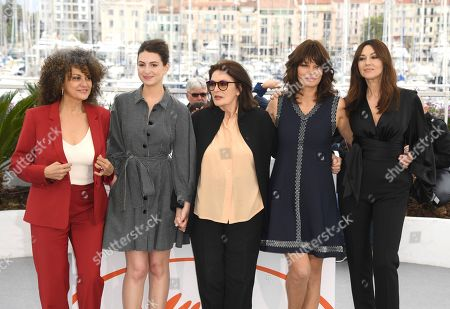 Souad Amidou, Tess Lauvergne, Anouk Aimee, Marianne Denicourt, Monica Bellucci. Actresses Souad Amidou, from left, Tess Lauvergne, Anouk Aimee, and Marianne Denicourt and Monica Bellucci pose for photographers at the photo call for the film 'The Best Years of a Life' at the 72nd international film festival, Cannes, southern France