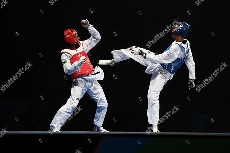 Stock Image of Rafael Alba of Cuba competes against of Maicon Siquera of Brazil in the Semi Final of the Mens 87kg Fight.