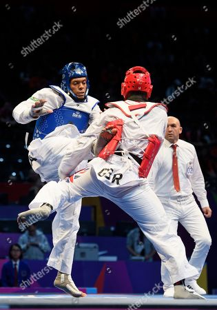 Mahama Cho of Great Britain during the Mens 87kg Quarter final fight against Maicon Siqueira.