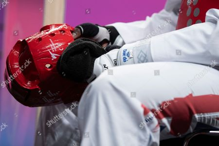 Mahama Cho of Great Britain hands during the Mens 87kg Quarter final fight against Maicon Siqueira.