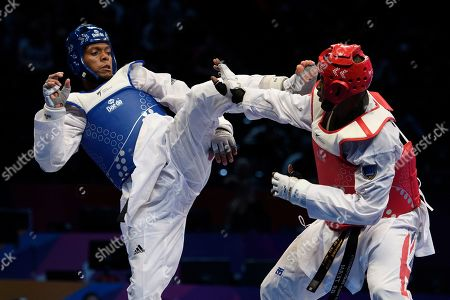 Maicon Siqueira of Brazil and Mahama Cho of Great Britain during the Mens 87kg Quarter final fight.