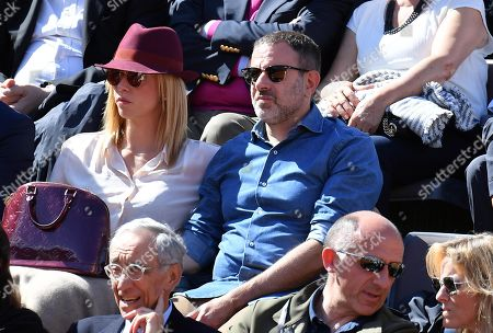 Italian movie director Fausto Brizzi (C-R) attends the men's singles final match between Rafael Nadal of Spain and Novak Djokovic of Serbia at the Italian Open tennis tournament in Rome, Italy, 19 May 2019.