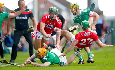 Limerick vs Cork. Cork's Aidan Walsh and Shane Kingston with Richie English and Dan Morrissey of Limerick