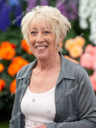 Gardening expert and presenter, Carol Klein.  Final preparations by Exhibitors at RHS Chelsea before the visit of HRH Elizabeth the second on Monday 20th May.