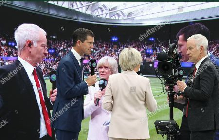 BBC TV Wimbledon Tennis presenter Sue Barker with Tim Henman and John McEnroe
