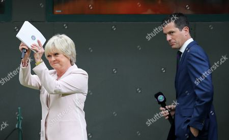 BBC TV Sports presenter Sue Barker with Tim Henman