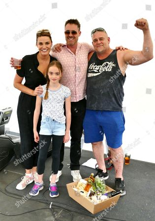 World Watercress Eating champion for 2019 Glenn Walsh from Alresford with Sarah Parish her Husband James Murray & their Daughter Nell