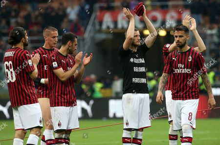 Stock Image of AC Milan's Ignazio Abate (2-R) greets the fans at the end of the Italian Serie A soccer match between AC Milan and Frosinone at Giuseppe Meazza stadium in Milan, Italy, 19 May 2019.