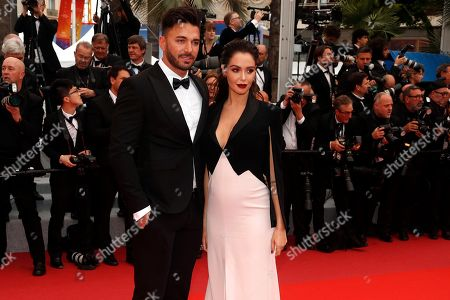 Nabilla Benattia (R) and her husband Thomas Vergara arrive for the screening of 'A Hidden Life' during the 72nd annual Cannes Film Festival, in Cannes, France, 19 May 2019. The movie is presented in the Official Competition of the festival which runs from 14 to 25 May.