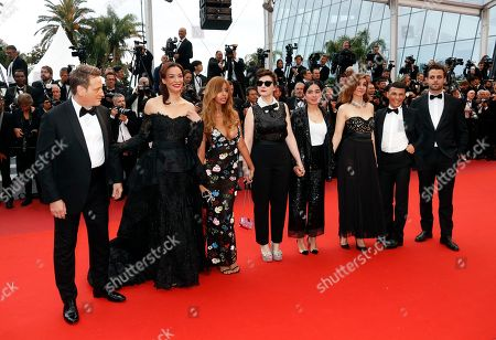 Benoit Magimel (L), French-Algerian model Zahia Dehar (2-L), French director Rebecca Zlotowski (C), French actor Henri-Noel Tabary (R), French actress Clotilde Courau (3-R) and French actress Mina Farid (4-R) arrive for the screening of 'A Hidden Life' during the 72nd annual Cannes Film Festival, in Cannes, France, 19 May 2019. The movie is presented in the Official Competition of the festival which runs from 14 to 25 May.