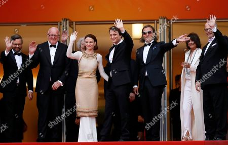 Dario Bergesio, Grant Hill, Marcus Loges, Austrian actress Valerie Pachnerr, German actor August Diehl, Bill Pohla arrive for the screening of 'A Hidden Life' during the 72nd annual Cannes Film Festival, in Cannes, France, 19 May 2019. The movie is presented in the Official Competition of the festival which runs from 14 to 25 May.