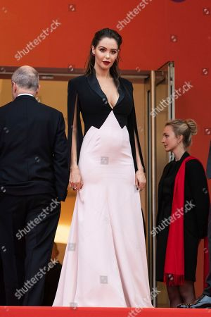 Nabilla Benattia poses for photographers upon arrival at the premiere of the film 'A Hidden Life' at the 72nd international film festival, Cannes, southern France
