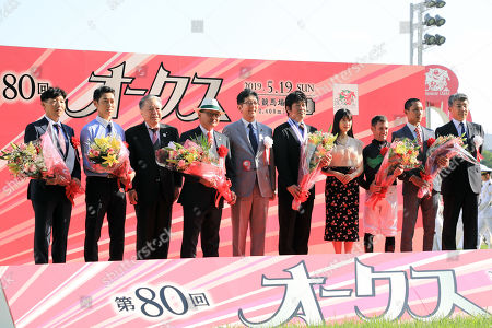 , Tokyo, Japan, Winners presentation. Loves only you with Mirco Demuro up wins the Yushun Himba (Japanese Oaks) at Fuchu racecourse.