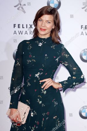 Jessica Schwarz poses on the red carpet for the Felix Burda Award in Berlin, Germany, 19 May 2019.
