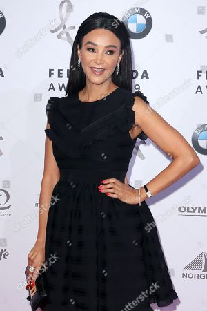 Verona Pooth poses on the red carpet for the Felix Burda Award in Berlin, Germany, 19 May 2019.