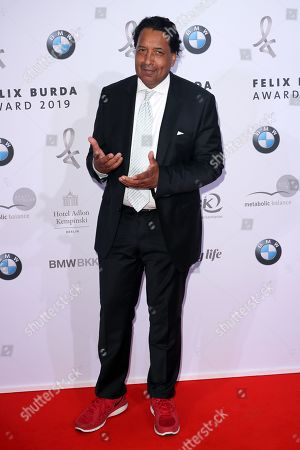 Stock Picture of Cherno Jobatey poses on the red carpet for the Felix Burda Award in Berlin, Germany, 19 May 2019.