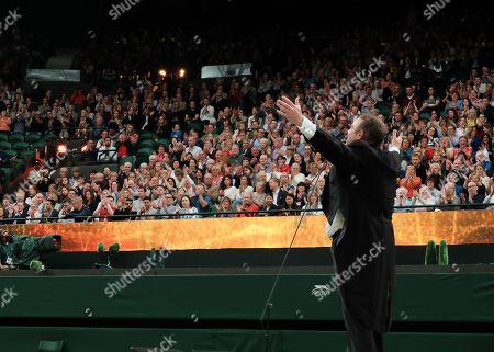 Tenor Joseph Calleja entertains the crowd during the Wimbledon No1 court Celebration for the Wimbledon foundation