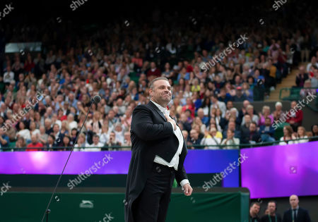 Tenor Joseph Calleja entertains the crowd during the Wimbledon No1 court Celebration