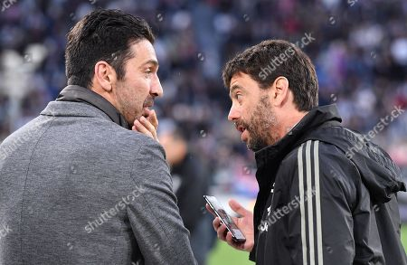 Goalkeeper Gianluigi Buffon (L) and Juventus president Andrea Agnelli during the italian Serie A soccer match Juventus FC vs Atalanta BC at the Allianz Stadium in Turin, Italy, 19 May 2019.