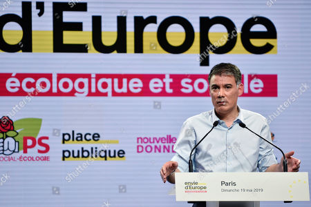 French First Secretary General of the Socialist Party (PS) Olivier Faure speaks during a meeting of the citizen movement 'Place Publique' for elections to the European Parliament in Paris, France, 19 May 2019. Elections to the European Parliament will take place from 23 to 26 May 2019.