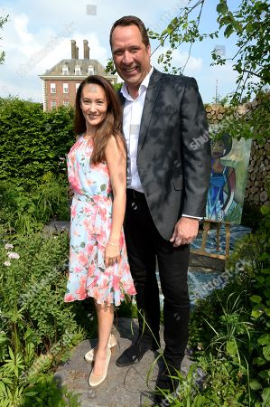 Frankie Poultney and David Seaman oon the Viking Cruises' 'The Art of Viking Garden' at RHS Chelsea Flower Show'