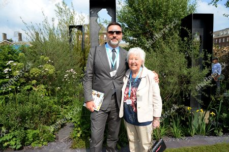 Stock Image of David Walliams and Kathleen Williams on the Viking Cruises' 'The Art of Viking Garden' at RHS Chelsea Flower Show'
