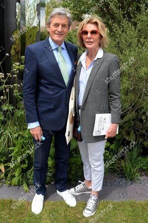 Stock Image of Nigel Havers and Rita Webb on the Viking Cruises' 'The Art of Viking Garden' at RHS Chelsea Flower Show'