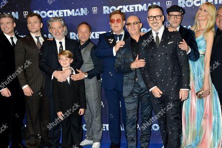 Richard Madden, Taron Egerton, Dexter Fletcher, Kit Connor, Stephen Graham, Sir Elton John, Bernie Taupin, David Furnish and Claudia Shiffer