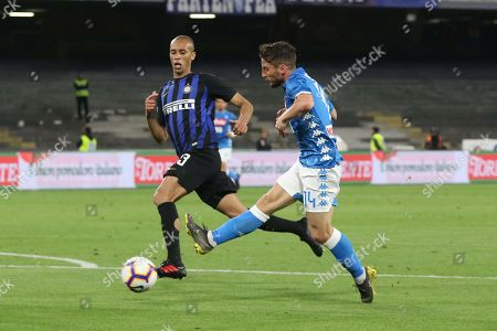 Stock Picture of Inters defender Joao Miranda (l) and  Napoli's forward Dries Mertens (r) during the Italian Serie A soccer match between  SSc Napoli and Inter FC the San Paolo stadium in Naples, Italy, 19 May 2019.