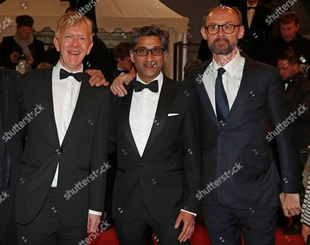 Asif Kapadia (C), British producer James Gay-Rees (R) and film editor Chris King (L) arrive for the screening of 'Diego Maradona' during the 72nd annual Cannes Film Festival, in Cannes, France, 19 May 2019. The movie is presented out of competition at the festival which runs from 14 to 25 May.