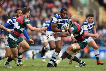 Semesa Rokoduguni of Bath Rugby takes on the Leicester Tigers defence