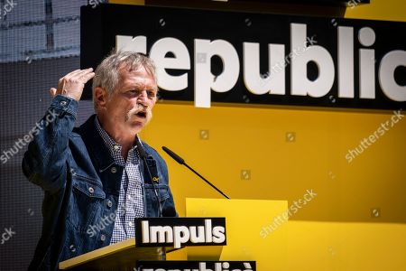 The politician, French trade unionist, now deputy to the European Parliament Jose Bove is seen speaking during the Campaign.