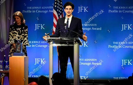 Jack Schlossberg, center, with Caroline Kennedy, introduces Speaker of the House Nancy Pelosi, D-Calif., the recipient of the 2019 John F. Kennedy Profile in Courage Award, at the John F. Kennedy Presidential Library and Museum in Boston