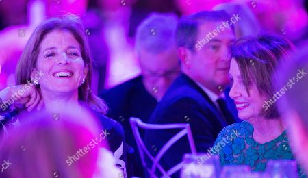 Speaker of the United States House of Representatives Nancy Pelosi (R) smiles while seated next to former US ambassador to Japan Caroline Kennedy (L) before accepting the John F. Kennedy Profile in Courage Award at the John F. Kennedy Library and Museum in Boston, Massachusetts, USA, 19 May 2019. Pelosi was honored for putting the Nation's interest above her party's interest to expand health care for all Americans, and then leading the effort to retake the majority and elect the most diverse Congress in the nation's history.