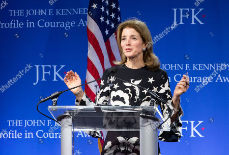 Former US ambassador to Japan Caroline Kennedy addresses the audience at the John F. Kennedy Library and Museum before presenting Speaker of the United States House of Representatives Nancy Pelosi with the John F Kennedy Profile in Courage Award, in Boston, Massachusetts, USA, 19 May 2019. Pelosi was honored for putting the Nation's interest above her party's interest to expand health care for all Americans, and then leading the effort to retake the majority and elect the most diverse Congress in the nation's history.