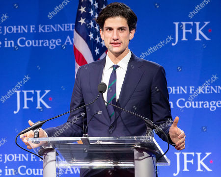 Stock Picture of Jack Schlossberg addresses the audience at the John F. Kennedy Library and Museum before presenting Speaker of the United States House of Representatives Nancy Pelosi with the John F Kennedy Profile in Courage Award, in Boston, Massachusetts, USA, 19 May 2019. Pelosi was honored for putting the Nation's interest above her party's interest to expand health care for all Americans, and then leading the effort to retake the majority and elect the most diverse Congress in the nation's history.
