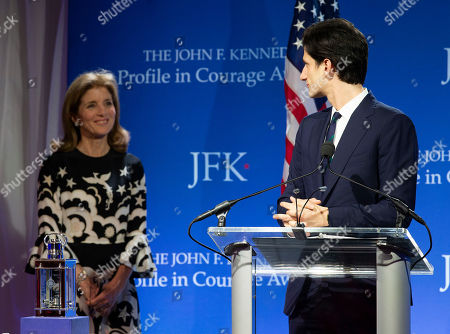 Stock Photo of Jack Schlossberg (R) looks to his mother, Ambassador Caroline Kennedy (L) before presenting Speaker of the United States House of Representatives Nancy Pelosi with the John F Kennedy Profile in Courage Award, in Boston, Massachusetts, USA, 19 May 2019. Pelosi was honored for putting the Nation's interest above her party's interest to expand health care for all Americans, and then leading the effort to retake the majority and elect the most diverse Congress in the nation's history.