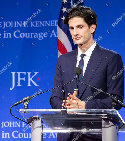 Jack Schlossberg addresses the audience at the John F. Kennedy Library and Museum before presenting Speaker of the United States House of Representatives Nancy Pelosi with the John F Kennedy Profile in Courage Award, in Boston, Massachusetts, USA, 19 May 2019. Pelosi was honored for putting the Nation's interest above her party's interest to expand health care for all Americans, and then leading the effort to retake the majority and elect the most diverse Congress in the nation's history.